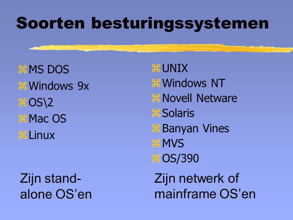 Geheugenbeheer geheugenruimte P1 1 P2 1 P3 3 P4 1 P5 1 P6 1 Paginering P1 2 P2 2 P2 3 P3 1 P3 2 P4 2 P4 3 P5 2 zelk programma opgedeeld in gelijke delen zpagina's niet noodzakelijk aaneengesloten zgeheugen optimaal gebruikt zalleen noodzakelijke delen in RAM, rest op HD zCPU doet veel administratie