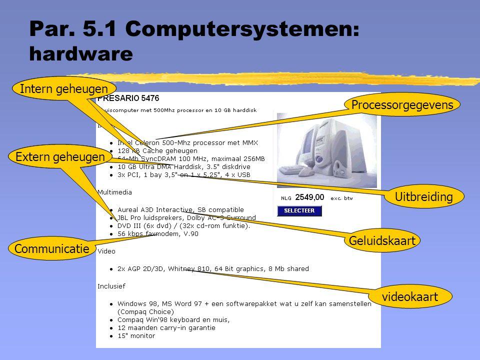 Par. 5.1 Computersystemen : hardware Processorgegevens Intern geheugen Extern geheugen Uitbreiding Geluidskaart Extern geheugen Communicatie videokaar