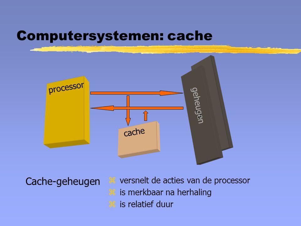 Computersystemen: cache processor 5 geheugen cache Cache-geheugen zversnelt de acties van de processor zis merkbaar na herhaling zis relatief duur