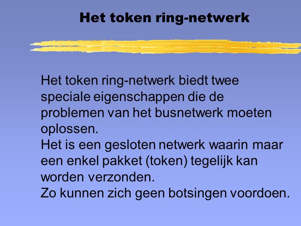 Het token ring-netwerk biedt twee speciale eigenschappen die de problemen van het busnetwerk moeten oplossen. Het is een gesloten netwerk waarin maar
