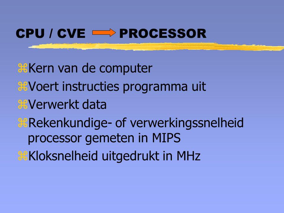 CPU / CVE PROCESSOR zKern van de computer zVoert instructies programma uit zVerwerkt data zRekenkundige- of verwerkingssnelheid processor gemeten in M