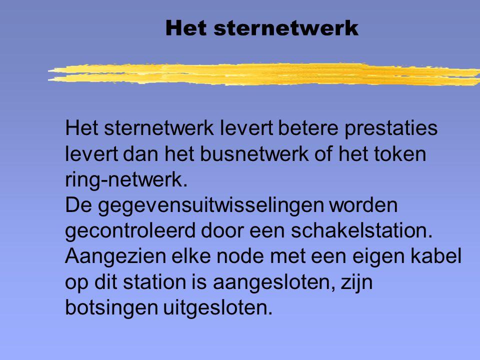 Het sternetwerk levert betere prestaties levert dan het busnetwerk of het token ring-netwerk. De gegevensuitwisselingen worden gecontroleerd door een