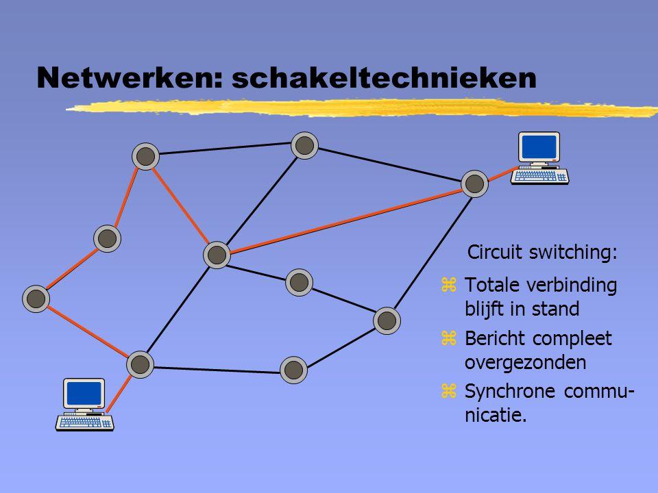 Netwerken: schakeltechnieken Circuit switching: zTotale verbinding blijft in stand zBericht compleet overgezonden zSynchrone commu- nicatie.