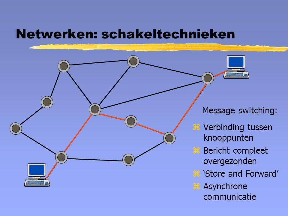 Netwerken: schakeltechnieken Message switching: zVerbinding tussen knooppunten zBericht compleet overgezonden z'Store and Forward' zAsynchrone communi
