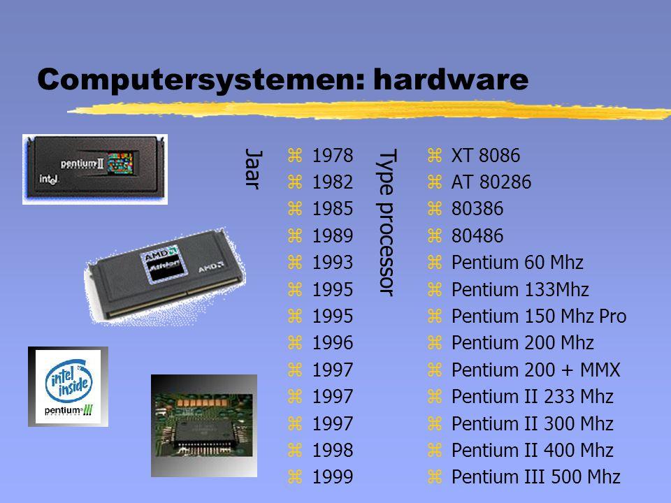 Computersystemen: hardware z1978 z1982 z1985 z1989 z1993 z1995 z1996 z1997 z1998 z1999 z XT 8086 z AT 80286 z 80386 z 80486 z Pentium 60 Mhz z Pentium