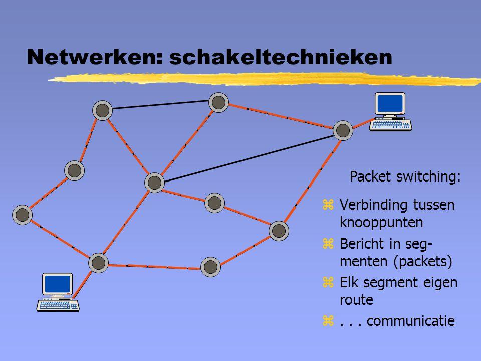 Netwerken: schakeltechnieken Packet switching: zVerbinding tussen knooppunten zBericht in seg- menten (packets) zElk segment eigen route z... communic