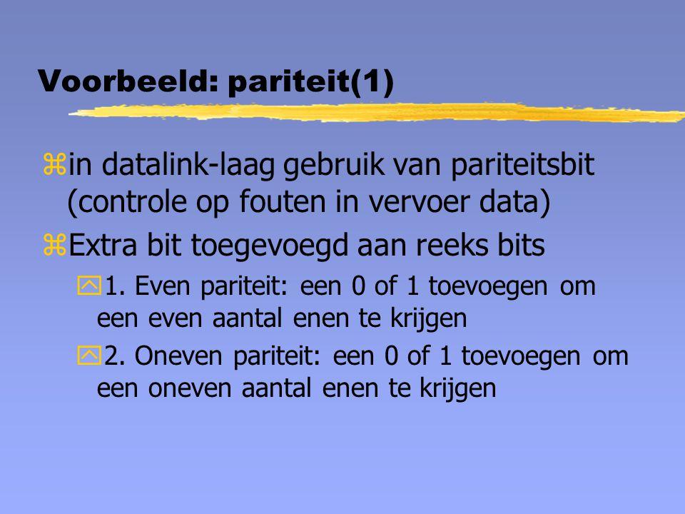 Voorbeeld: pariteit(1) zin datalink-laag gebruik van pariteitsbit (controle op fouten in vervoer data) zExtra bit toegevoegd aan reeks bits y1. Even p