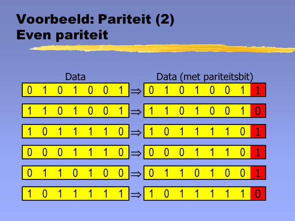 Voorbeeld: Pariteit (2) Even pariteit