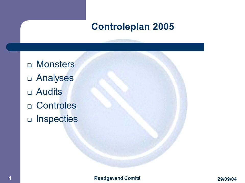 JPM 29/09/04 Raadgevend Comité 2 Controleplan 2005  2 controleplannen : – Plan met bemonstering Programmatie van analyses – Plan zonder bemonstering Inspecties/audits van inrichtingen Controles van de documenten