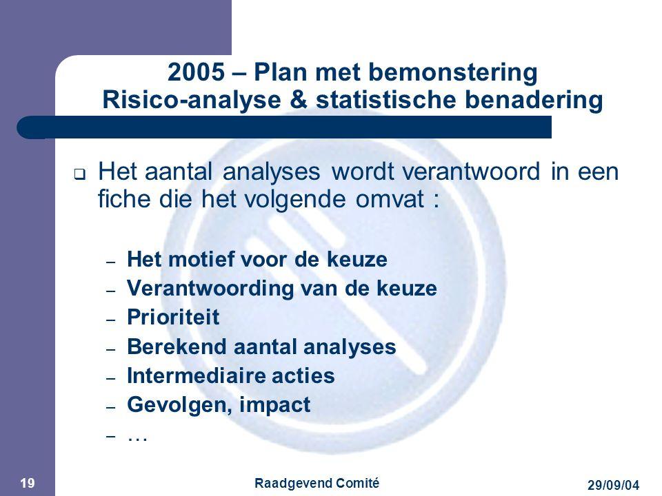 JPM 29/09/04 Raadgevend Comité 19 2005 – Plan met bemonstering Risico-analyse & statistische benadering  Het aantal analyses wordt verantwoord in een fiche die het volgende omvat : – Het motief voor de keuze – Verantwoording van de keuze – Prioriteit – Berekend aantal analyses – Intermediaire acties – Gevolgen, impact – …