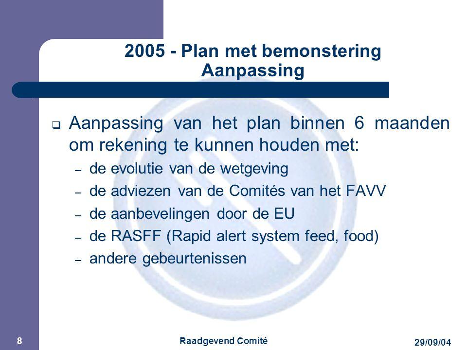 JPM 29/09/04 Raadgevend Comité 8 2005 - Plan met bemonstering Aanpassing  Aanpassing van het plan binnen 6 maanden om rekening te kunnen houden met: – de evolutie van de wetgeving – de adviezen van de Comités van het FAVV – de aanbevelingen door de EU – de RASFF (Rapid alert system feed, food) – andere gebeurtenissen