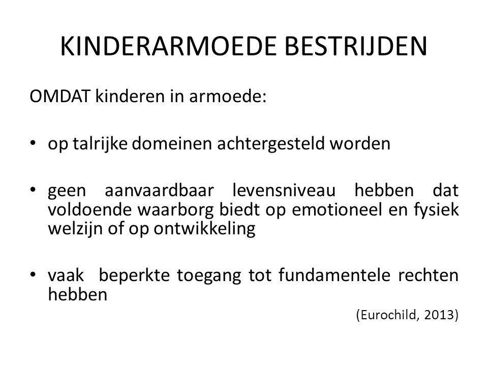 KINDERARMOEDE BESTRIJDEN OMDAT kinderen in armoede: niet altijd gehoord kunnen worden vaak uitgesloten worden van participatie geconfronteerd worden met discriminaties en stigmatiseringen (Eurochild, 2013)