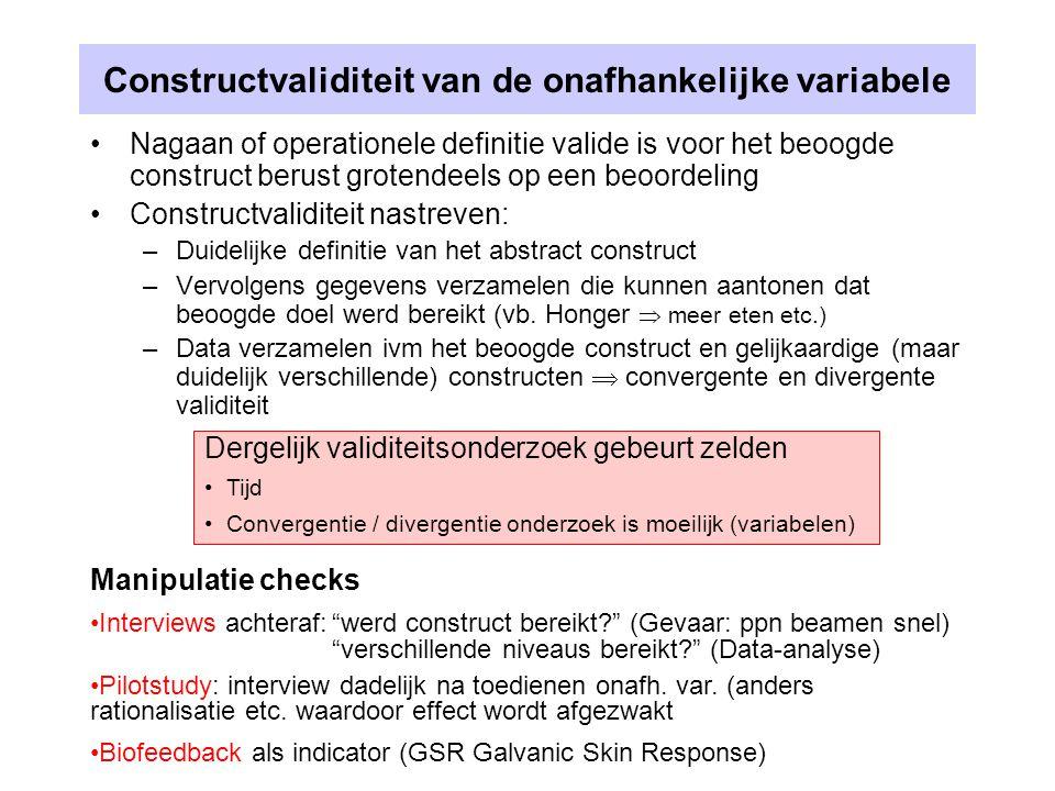 Constructvaliditeit van de onafhankelijke variabele Nagaan of operationele definitie valide is voor het beoogde construct berust grotendeels op een be