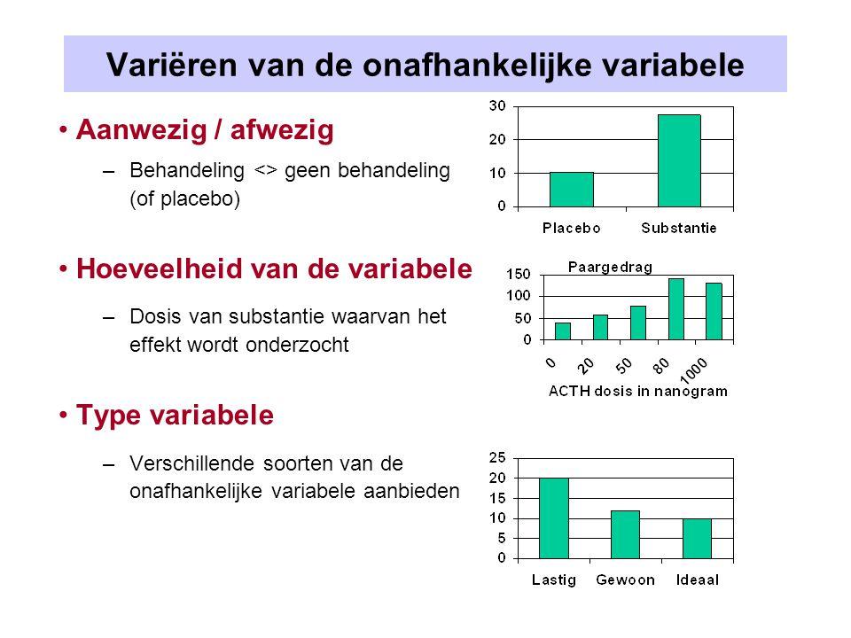 Variatie van onafhankelijke variabele opwekken Sommige variabelen lenen zich meer (medicatie)/minder (angst) voor dosering Dosering van medicatie –Aanwezig / afwezig  Medicatie <> Placebo –Hoeveelheid van de variabele  Medicatie in verschillende dosering –Type variabele  Verschillende typen medicatie Dosering van angst –??.