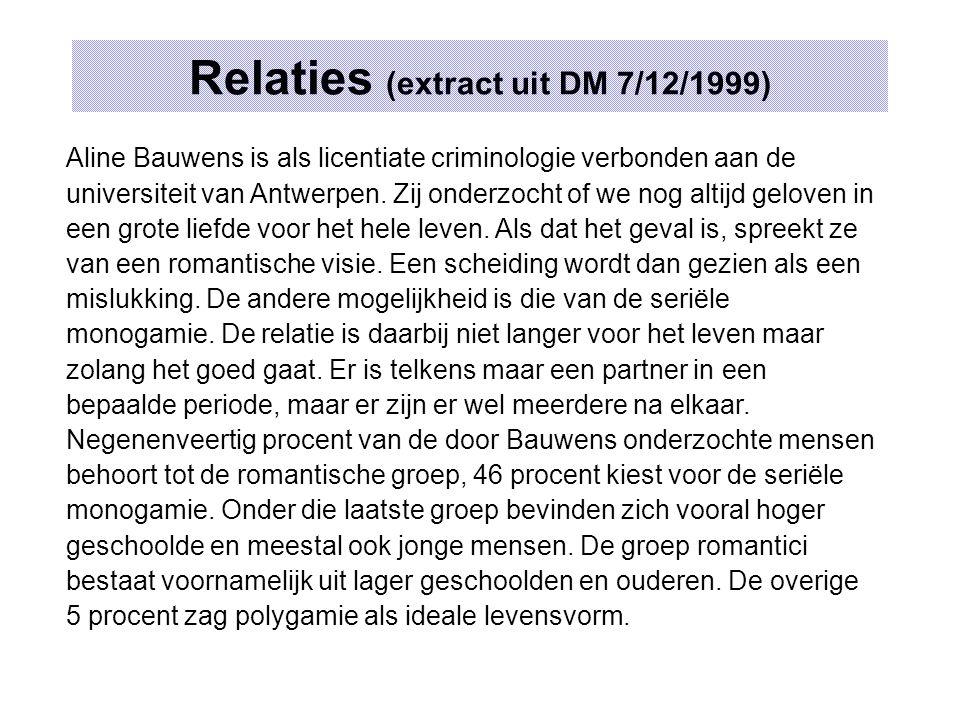 Relaties (extract uit DM 7/12/1999) Aline Bauwens is als licentiate criminologie verbonden aan de universiteit van Antwerpen.