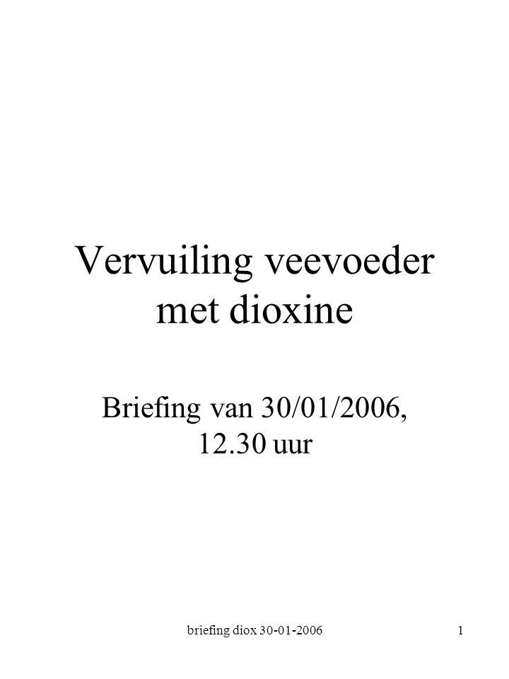 briefing diox 30-01-20061 Vervuiling veevoeder met dioxine Briefing van 30/01/2006, 12.30 uur