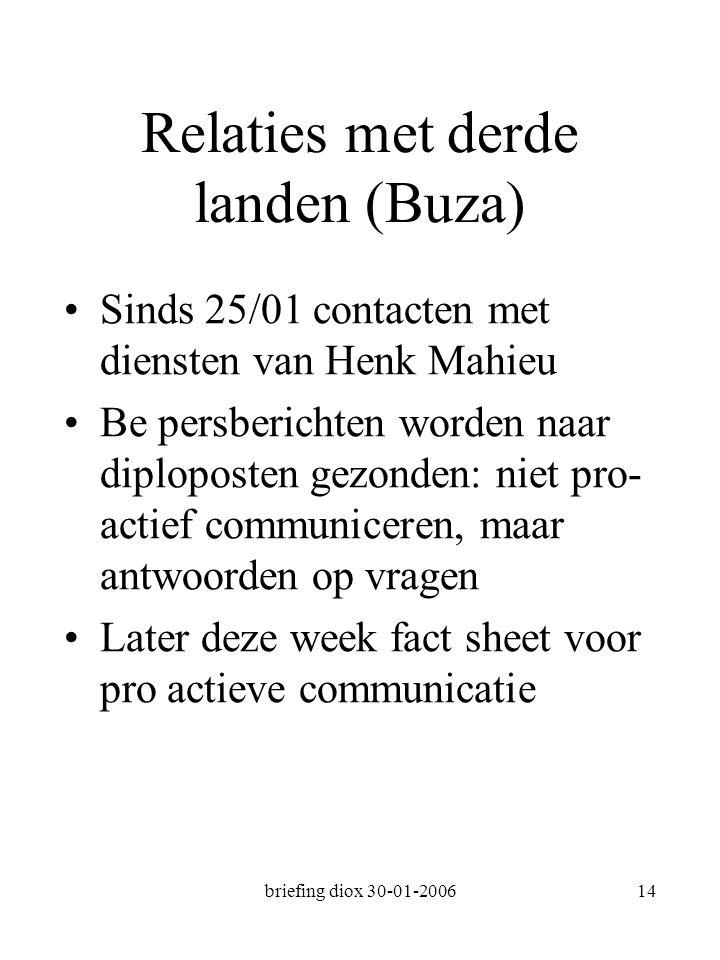 briefing diox 30-01-200614 Relaties met derde landen (Buza) Sinds 25/01 contacten met diensten van Henk Mahieu Be persberichten worden naar diploposten gezonden: niet pro- actief communiceren, maar antwoorden op vragen Later deze week fact sheet voor pro actieve communicatie