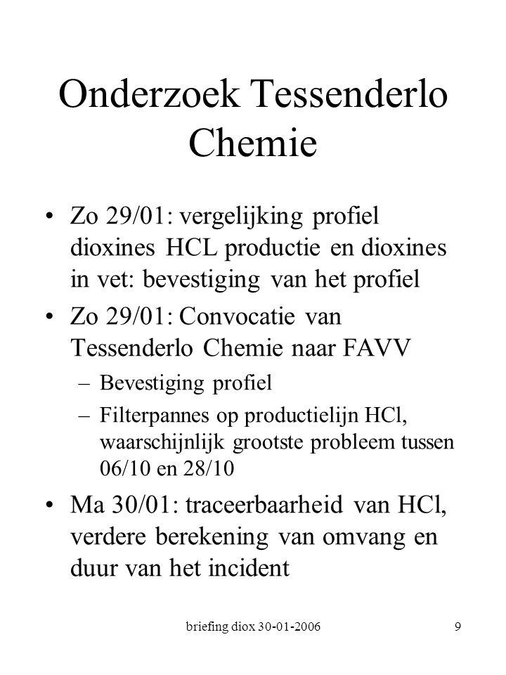 briefing diox 30-01-20069 Onderzoek Tessenderlo Chemie Zo 29/01: vergelijking profiel dioxines HCL productie en dioxines in vet: bevestiging van het profiel Zo 29/01: Convocatie van Tessenderlo Chemie naar FAVV –Bevestiging profiel –Filterpannes op productielijn HCl, waarschijnlijk grootste probleem tussen 06/10 en 28/10 Ma 30/01: traceerbaarheid van HCl, verdere berekening van omvang en duur van het incident