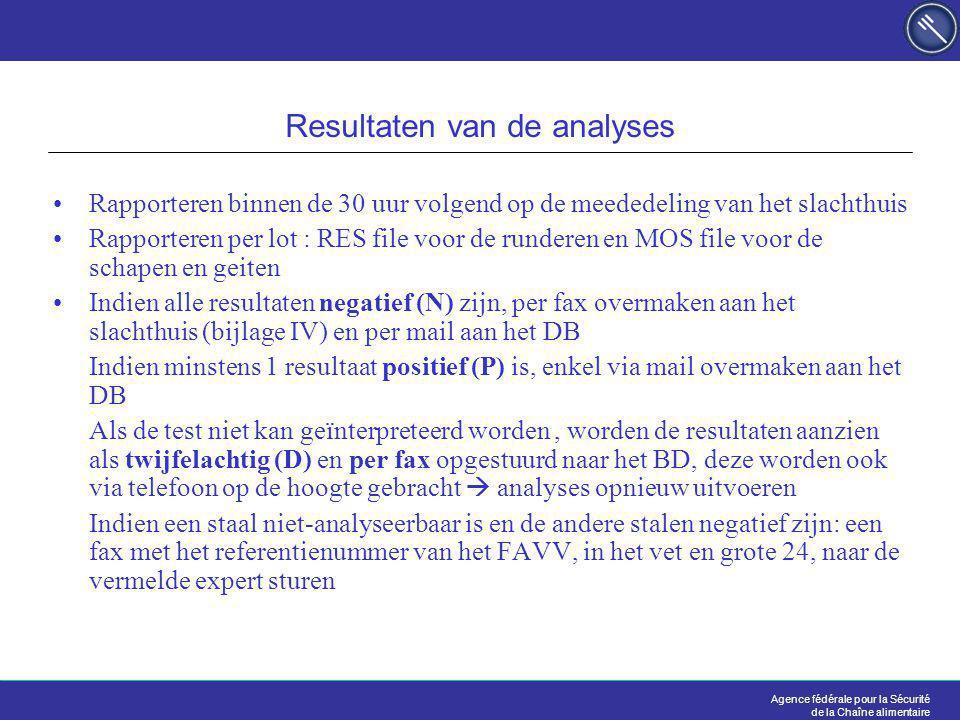 Agence fédérale pour la Sécurité de la Chaîne alimentaire Resultaten van de analyses Rapporteren binnen de 30 uur volgend op de meededeling van het slachthuis Rapporteren per lot : RES file voor de runderen en MOS file voor de schapen en geiten Indien alle resultaten negatief (N) zijn, per fax overmaken aan het slachthuis (bijlage IV) en per mail aan het DB Indien minstens 1 resultaat positief (P) is, enkel via mail overmaken aan het DB Als de test niet kan geïnterpreteerd worden, worden de resultaten aanzien als twijfelachtig (D) en per fax opgestuurd naar het BD, deze worden ook via telefoon op de hoogte gebracht  analyses opnieuw uitvoeren Indien een staal niet-analyseerbaar is en de andere stalen negatief zijn: een fax met het referentienummer van het FAVV, in het vet en grote 24, naar de vermelde expert sturen