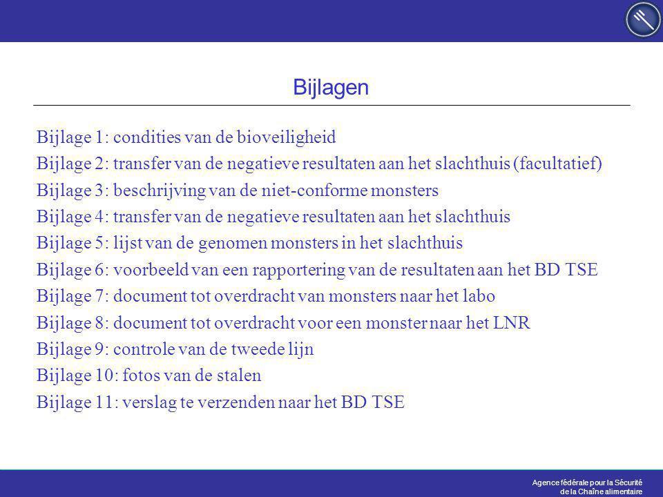 Agence fédérale pour la Sécurité de la Chaîne alimentaire Bijlagen Bijlage 1: condities van de bioveiligheid Bijlage 2: transfer van de negatieve resultaten aan het slachthuis (facultatief) Bijlage 3: beschrijving van de niet-conforme monsters Bijlage 4: transfer van de negatieve resultaten aan het slachthuis Bijlage 5: lijst van de genomen monsters in het slachthuis Bijlage 6: voorbeeld van een rapportering van de resultaten aan het BD TSE Bijlage 7: document tot overdracht van monsters naar het labo Bijlage 8: document tot overdracht voor een monster naar het LNR Bijlage 9: controle van de tweede lijn Bijlage 10: fotos van de stalen Bijlage 11: verslag te verzenden naar het BD TSE