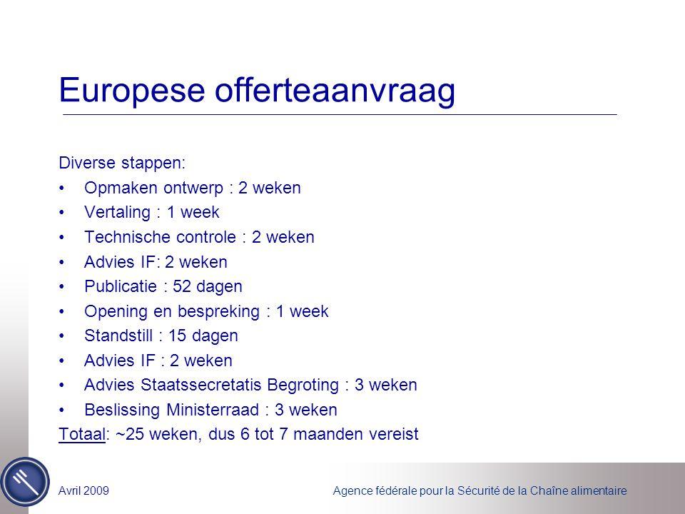 Agence fédérale pour la Sécurité de la Chaîne alimentaireAvril 2009 Europese offerteaanvraag Diverse stappen: Opmaken ontwerp : 2 weken Vertaling : 1