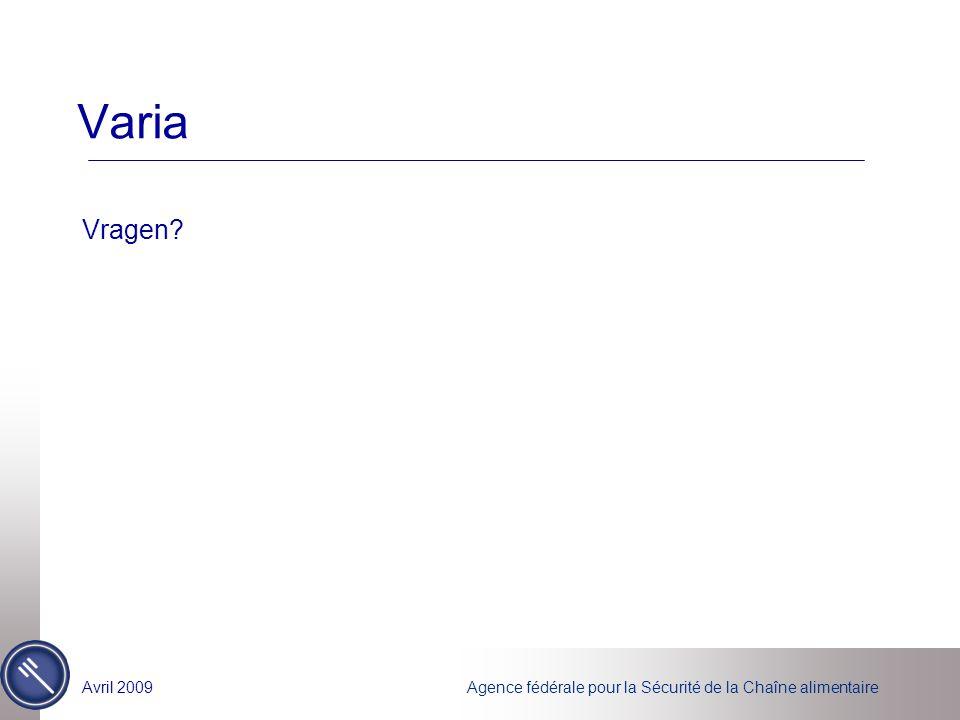 Agence fédérale pour la Sécurité de la Chaîne alimentaireAvril 2009 Varia Vragen?
