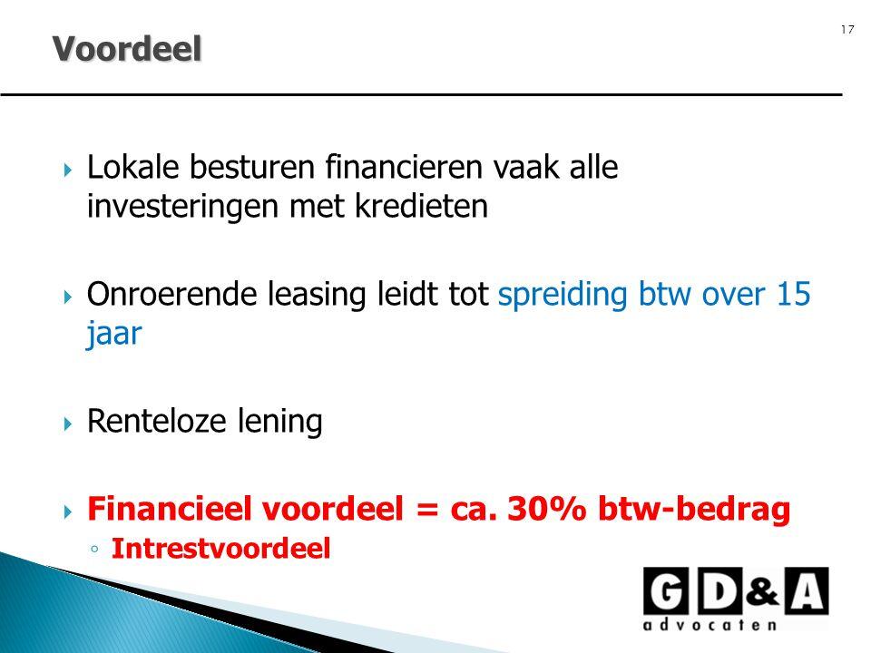 17  Lokale besturen financieren vaak alle investeringen met kredieten  Onroerende leasing leidt tot spreiding btw over 15 jaar  Renteloze lening 