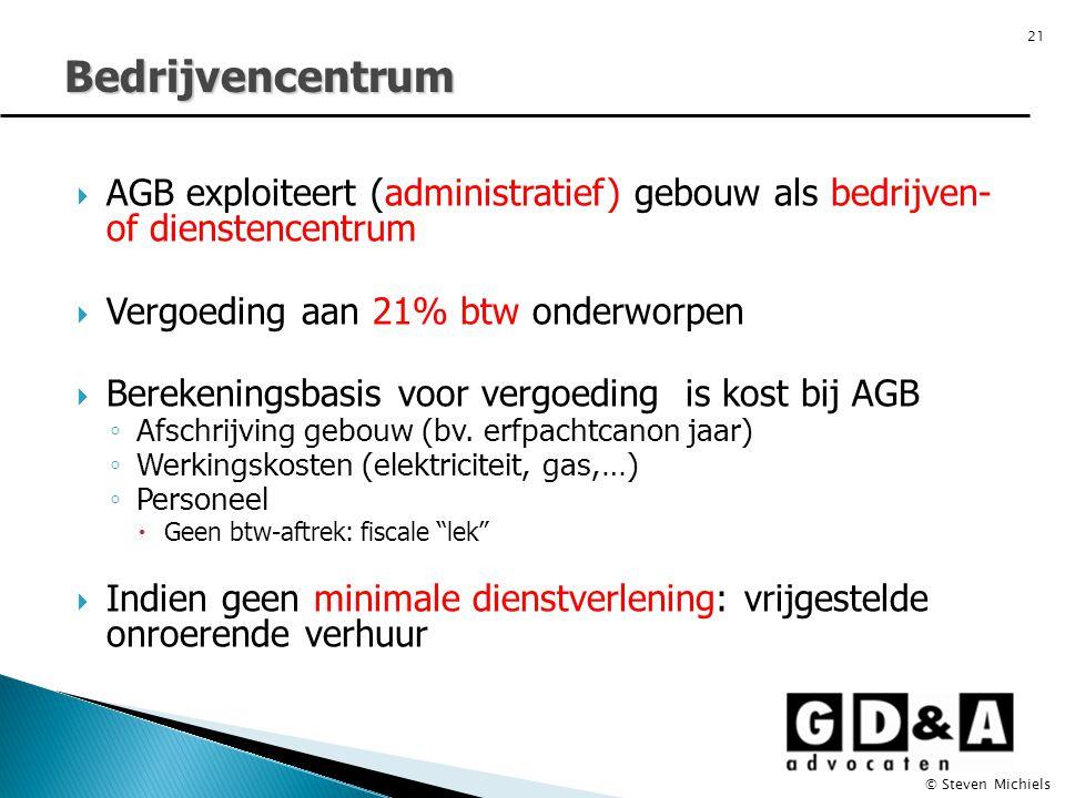 Bedrijvencentrum  AGB exploiteert (administratief) gebouw als bedrijven- of dienstencentrum  Vergoeding aan 21% btw onderworpen  Berekeningsbasis v