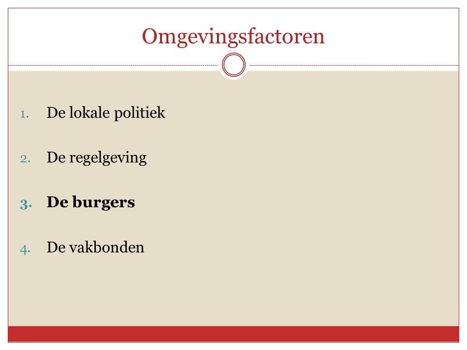 Omgevingsfactoren 1. De lokale politiek 2. De regelgeving 3. De burgers 4. De vakbonden
