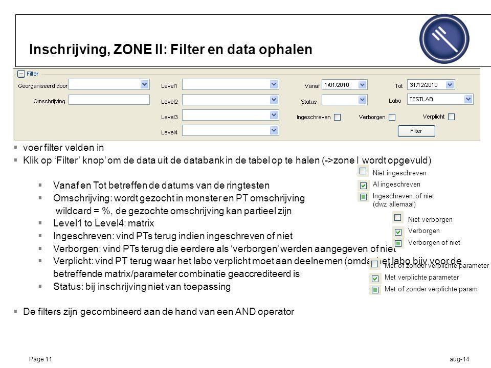 aug-14Page 11 Inschrijving, ZONE II: Filter en data ophalen  voer filter velden in  Klik op 'Filter' knop' om de data uit de databank in de tabel op te halen (->zone I wordt opgevuld)  Vanaf en Tot betreffen de datums van de ringtesten  Omschrijving: wordt gezocht in monster en PT omschrijving wildcard = %, de gezochte omschrijving kan partieel zijn  Level1 to Level4: matrix  Ingeschreven: vind PTs terug indien ingeschreven of niet  Verborgen: vind PTs terug die eerdere als 'verborgen' werden aangegeven of niet  Verplicht: vind PT terug waar het labo verplicht moet aan deelnemen (omdat het labo bijv voor de betreffende matrix/parameter combinatie geaccrediteerd is  Status: bij inschrijving niet van toepassing  De filters zijn gecombineerd aan de hand van een AND operator Ingeschreven of niet (dwz allemaal) Al ingeschreven Niet ingeschreven Met of zonder verplichte param Met verplichte parameter Met of zonder verplichte parameter Verborgen of niet Verborgen Niet verborgen