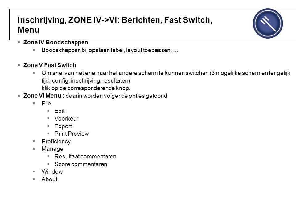 Inschrijving, ZONE IV->VI: Berichten, Fast Switch, Menu  Zone IV Boodschappen  Boodschappen bij opslaan tabel, layout toepassen, …  Zone V Fast Switch  Om snel van het ene naar het andere scherm te kunnen switchen (3 mogelijke schermen ter gelijk tijd: config, inschrijving, resultaten) klik op de corresponderende knop.