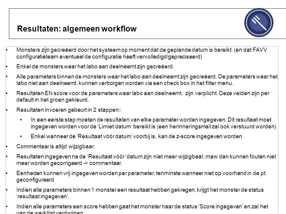 Resultaten: algemeen workflow Monsters zijn gecreëerd door het systeem op moment dat de geplande datum is bereikt.