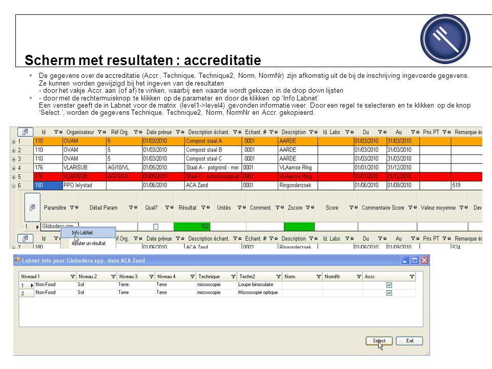 Scherm met resultaten : accreditatie  De gegevens over de accreditatie (Accr., Technique, Technique2, Norm, NormNr) zijn afkomstig uit de bij de inschrijving ingevoerde gegevens.