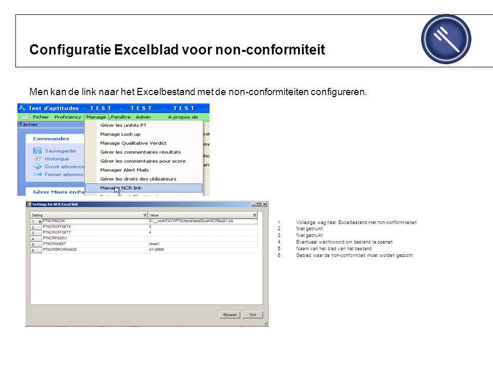 Configuratie Excelblad voor non-conformiteit Men kan de link naar het Excelbestand met de non-conformiteiten configureren.