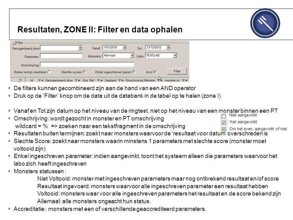 Resultaten, ZONE II: Filter en data ophalen  De filters kunnen gecombineerd zijn aan de hand van een AND operator  Druk op de 'Filter' knop om de data uit de databank in de tabel op te halen (zone I)  Vanaf en Tot zijn datum op het niveau van de ringtest, niet op het niveau van een monster binnen een PT  Omschrijving: wordt gezocht in monster en PT omschrijving wildcard = % => zoeken naar een tekstfragment in de omschrijving  Resultaten buiten termijnen: zoekt naar monsters waarvoor de 'resultaat voor datum' overschreden is  Slechte Score: zoekt naar monsters waarin minstens 1 parameters met slechte score (monster moet voltooid zijn)  Enkel ingeschreven parameter: indien aangevinkt, toont het systeem alleen die parameters waarvoor het labo zich heeft ingeschreven  Monsters statussen : Niet Voltooid: monster met ingeschreven parameters maar nog ontbrekend resultaat en/of score Resultaat ingevoerd: monsters waarvoor alle ingeschreven parameter een resultaat hebben Voltooid: monsters waar voor alle ingeschreven parameters het resultaat en de score bekend zijn Allemaal: alle monsters ongeacht hun status.