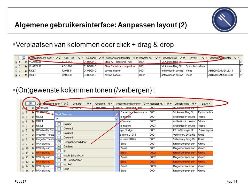 Aug-14Page 37 Algemene gebruikersinterface: Aanpassen layout (2)  Verplaatsen van kolommen door click + drag & drop  (On)gewenste kolommen tonen (/verbergen) :