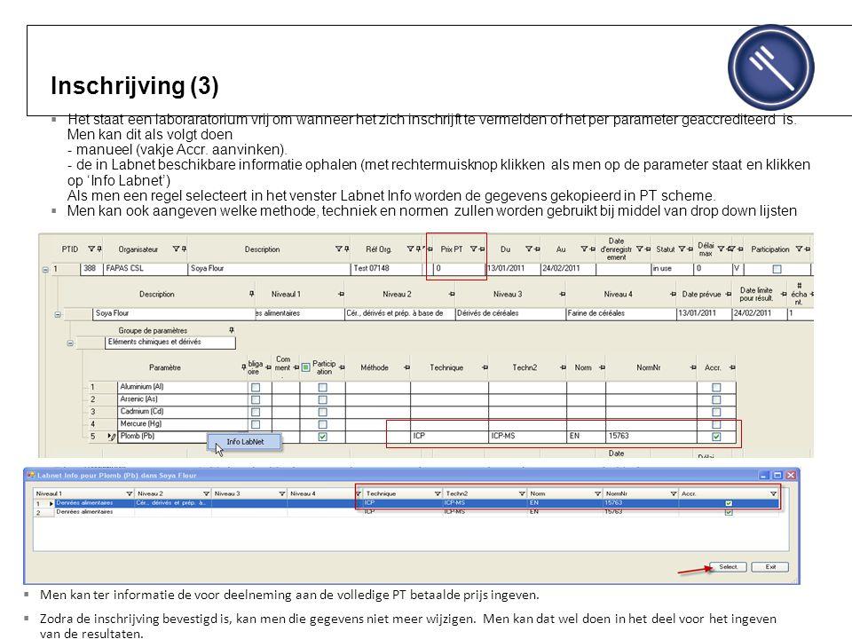 Inschrijving (3)  Het staat een laboraratorium vrij om wanneer het zich inschrijft te vermelden of het per parameter geaccrediteerd is.