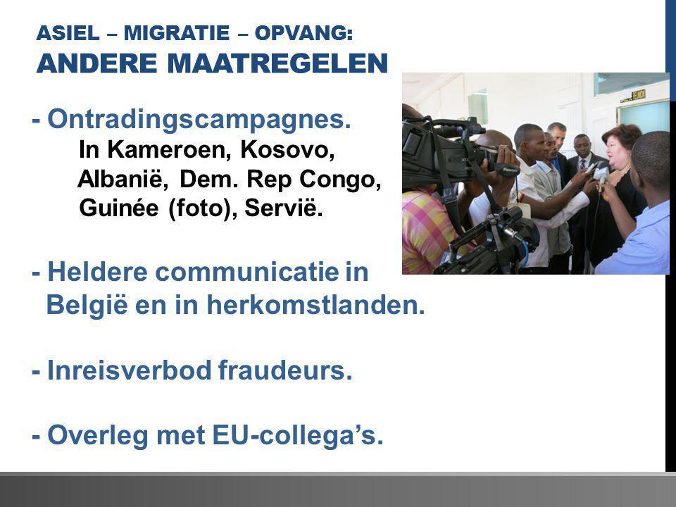 ASIEL – MIGRATIE – OPVANG: ANDERE MAATREGELEN - Ontradingscampagnes. In Kameroen, Kosovo, Albanië, Dem. Rep Congo, Guinée (foto), Servië. - Heldere co
