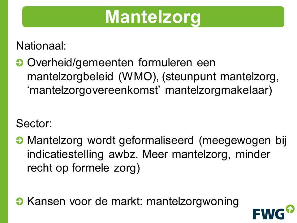 Nationaal: Overheid/gemeenten formuleren een mantelzorgbeleid (WMO), (steunpunt mantelzorg, 'mantelzorgovereenkomst' mantelzorgmakelaar) Sector: Mantelzorg wordt geformaliseerd (meegewogen bij indicatiestelling awbz.