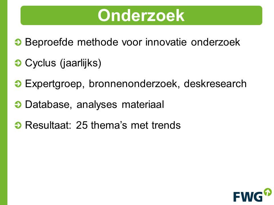 Beproefde methode voor innovatie onderzoek Cyclus (jaarlijks) Expertgroep, bronnenonderzoek, deskresearch Database, analyses materiaal Resultaat: 25 thema's met trends Onderzoek