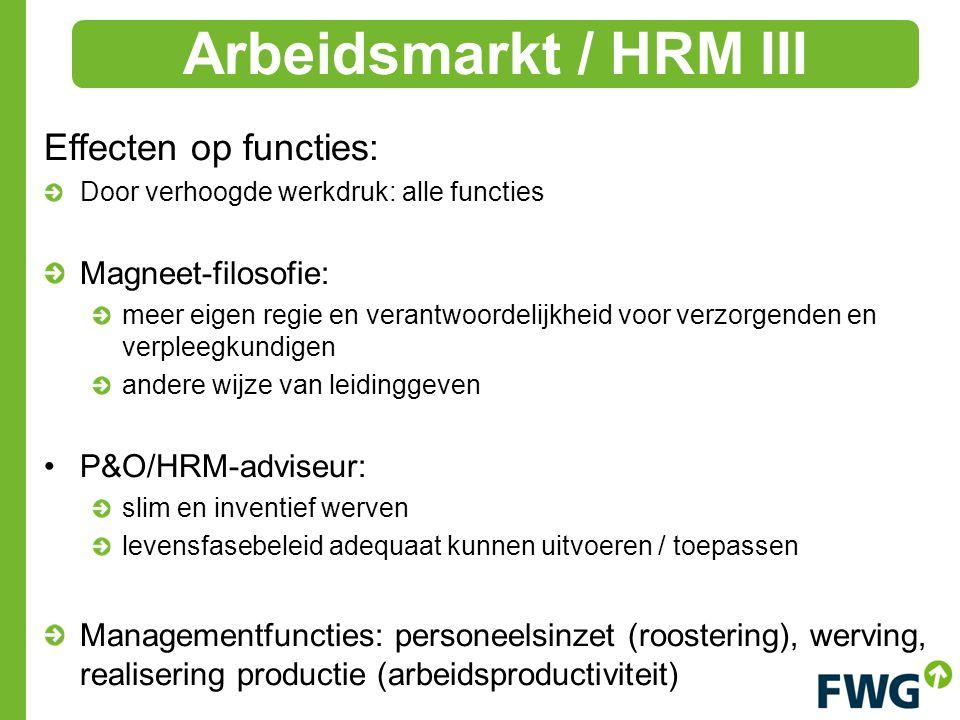 Effecten op functies: Door verhoogde werkdruk: alle functies Magneet-filosofie: meer eigen regie en verantwoordelijkheid voor verzorgenden en verpleegkundigen andere wijze van leidinggeven P&O/HRM ‑ adviseur: slim en inventief werven levensfasebeleid adequaat kunnen uitvoeren / toepassen Managementfuncties: personeelsinzet (roostering), werving, realisering productie (arbeidsproductiviteit) Arbeidsmarkt / HRM III