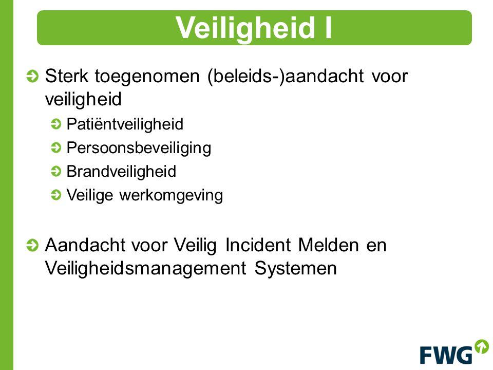 Sterk toegenomen (beleids-)aandacht voor veiligheid Patiëntveiligheid Persoonsbeveiliging Brandveiligheid Veilige werkomgeving Aandacht voor Veilig In