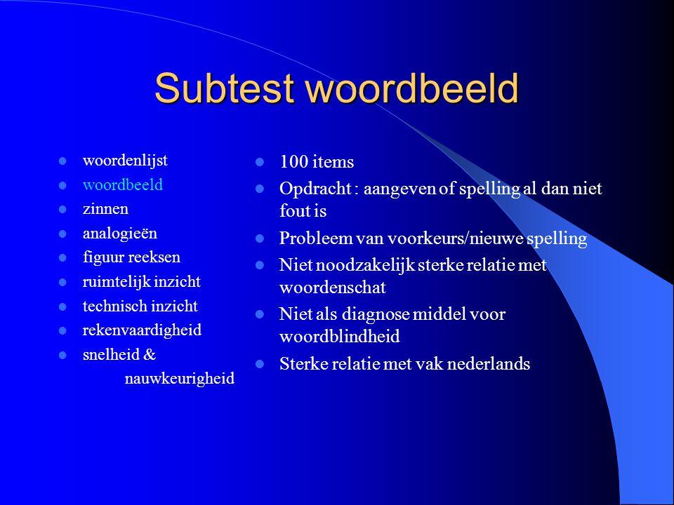Subtest woordbeeld woordenlijst woordbeeld zinnen analogieën figuur reeksen ruimtelijk inzicht technisch inzicht rekenvaardigheid snelheid & nauwkeuri