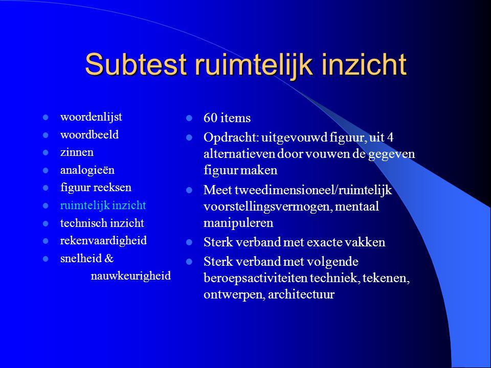 Subtest ruimtelijk inzicht woordenlijst woordbeeld zinnen analogieën figuur reeksen ruimtelijk inzicht technisch inzicht rekenvaardigheid snelheid & n