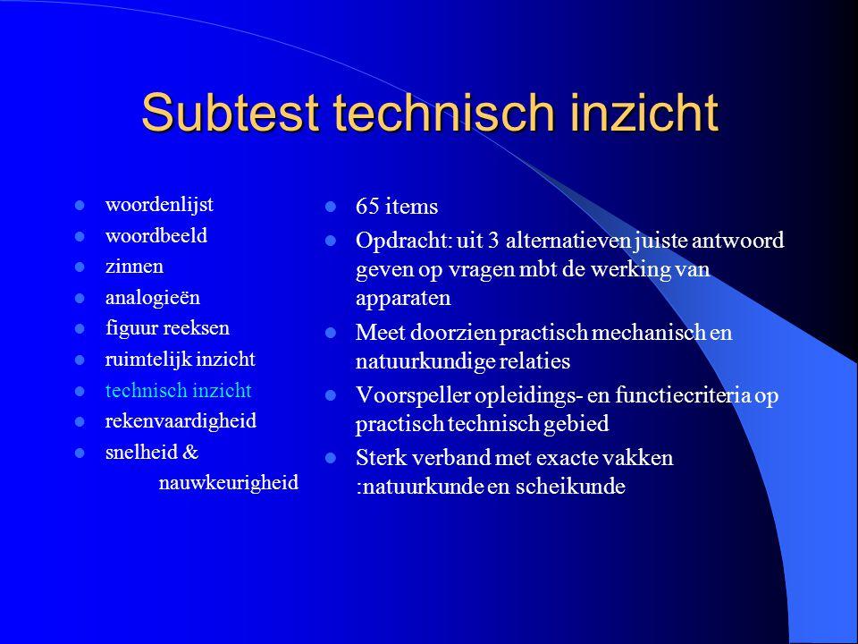 Subtest technisch inzicht woordenlijst woordbeeld zinnen analogieën figuur reeksen ruimtelijk inzicht technisch inzicht rekenvaardigheid snelheid & na