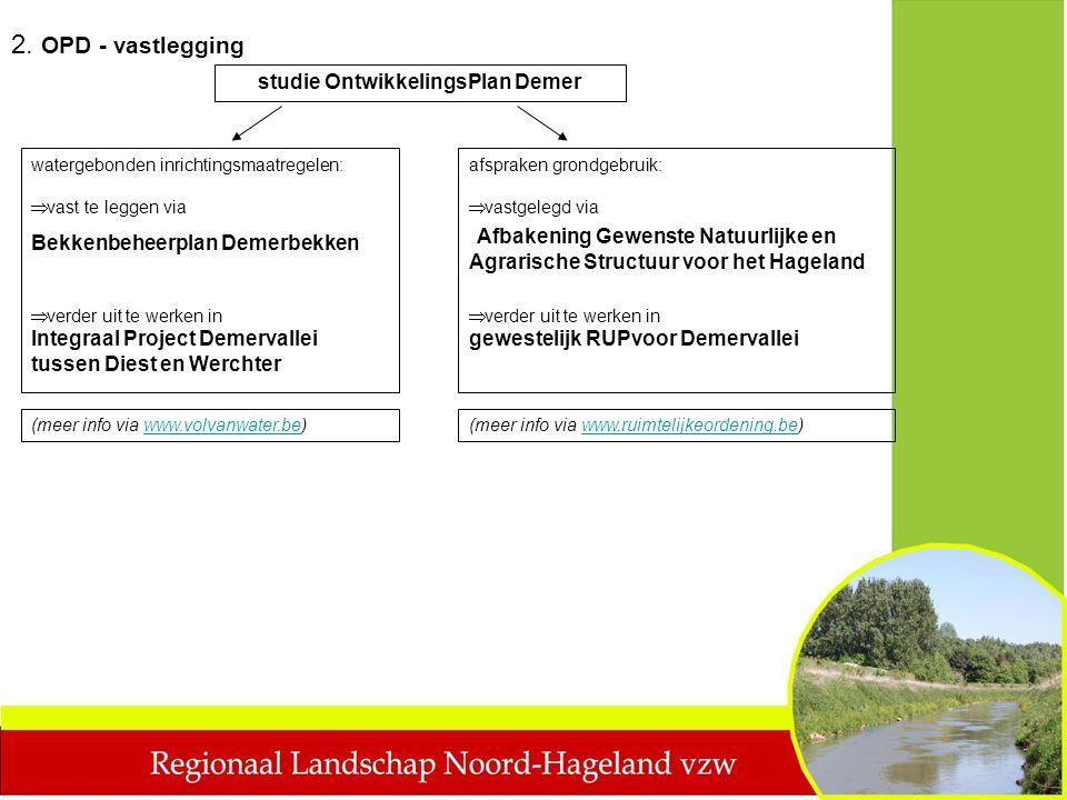 studie OntwikkelingsPlan Demer watergebonden inrichtingsmaatregelen:  vast te leggen via Bekkenbeheerplan Demerbekken  vastgelegd via Afbakening Gew