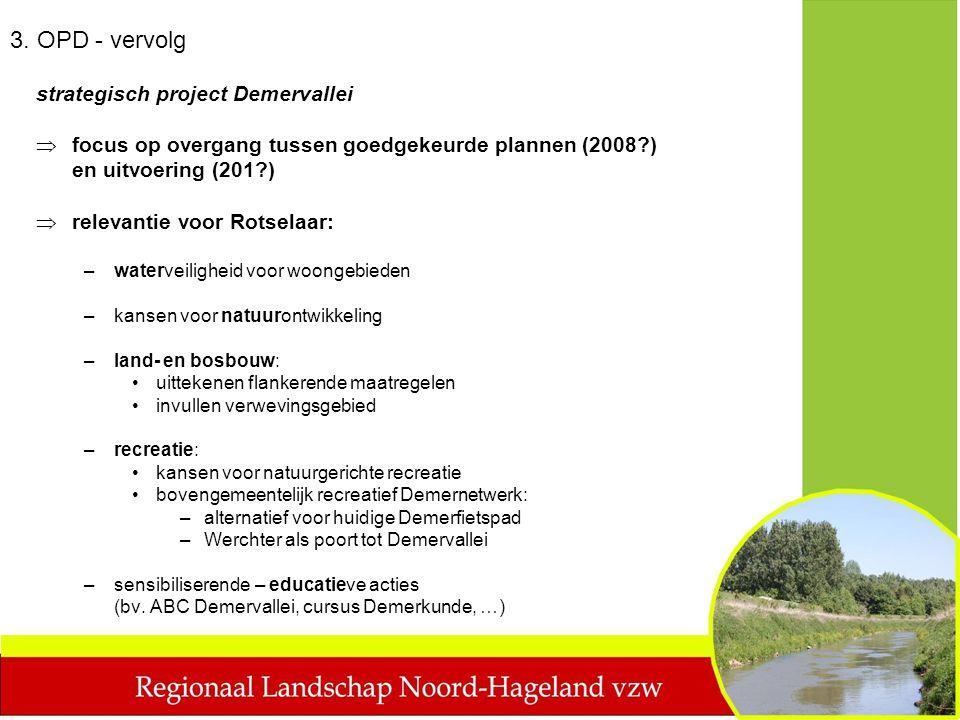 strategisch project Demervallei  focus op overgang tussen goedgekeurde plannen (2008?) en uitvoering (201?)  relevantie voor Rotselaar: –waterveilig
