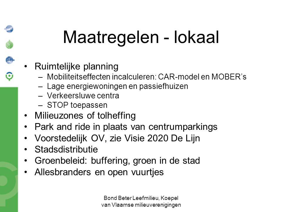 Bond Beter Leefmilieu, Koepel van Vlaamse milieuverenigingen Maatregelen - lokaal Ruimtelijke planning –Mobiliteitseffecten incalculeren: CAR-model en