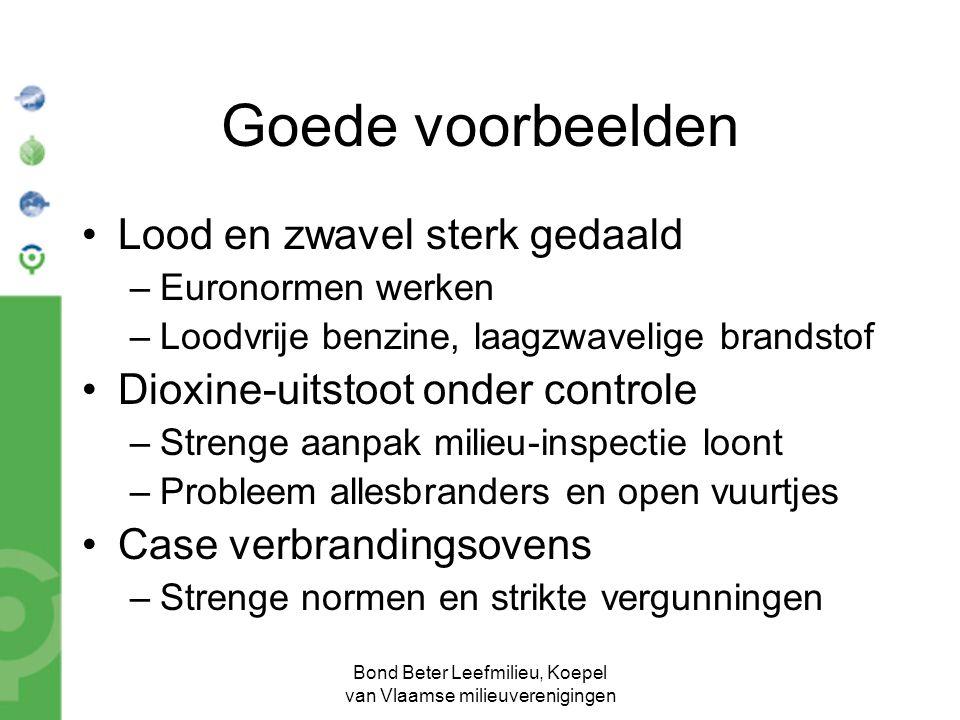 Bond Beter Leefmilieu, Koepel van Vlaamse milieuverenigingen Goede voorbeelden Lood en zwavel sterk gedaald –Euronormen werken –Loodvrije benzine, laa
