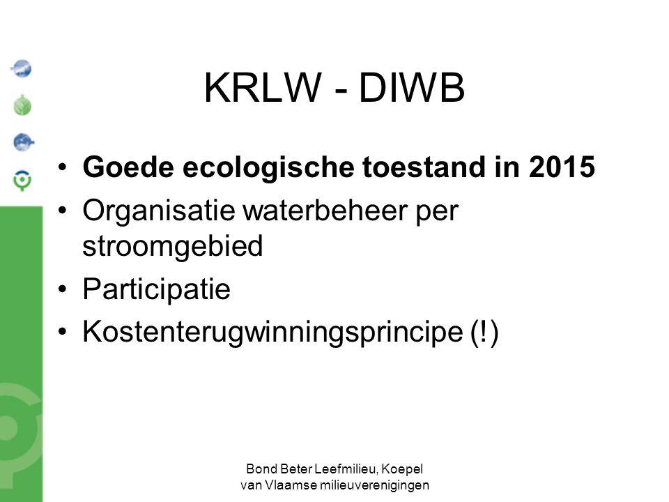 Bond Beter Leefmilieu, Koepel van Vlaamse milieuverenigingen KRLW - DIWB Goede ecologische toestand in 2015 Organisatie waterbeheer per stroomgebied P
